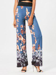 Flower Print High Waisted Wide Leg Pants - Blue Xl