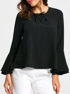 Lace Up Front Flared Long Sleeve Blouse - Black Xl