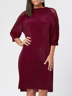 Distressed Long Sleeve Ribbed Dress - Red