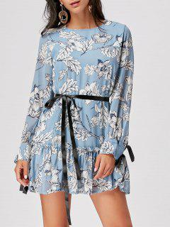 Long Sleeve Chiffon Floral Dress - Cloudy M
