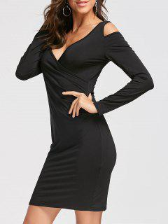 Long Sleeve Cold Shoulder Slim Fit Dress - Black L