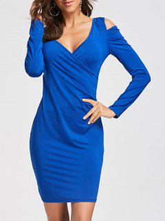 Long Sleeve Cold Shoulder Slim Fit Dress - Blue Xl