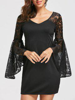 Bell Sleeve Lace Panel Dress - Black L