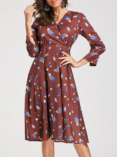 Feather Print Surplice Knee Length Dress - Deep Brown S