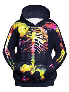 Kangaroo Pocket 3D Skull Print Hoodie - Black L