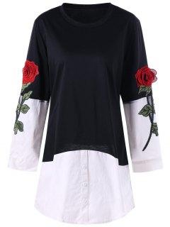 Rose Applique Contrat Shirt Hem Longline Top - Black M
