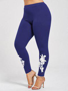 Plus Size Appliqued Jersey Leggings - Blue 3xl