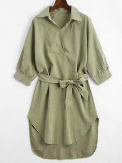 Three Quarter Sleeve Belted Shift Dress - Army Green Xl