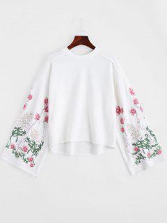 Sweat-shirt Brodé à Fleurs Ras Du Cou Manches Cloches - Blanc M