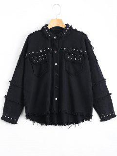 Rivet Embellished Pockets Frayed Hem Jacket - Black M