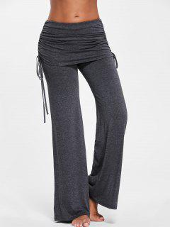 Ruched Wide Leg Skirted Pants - Deep Gray L