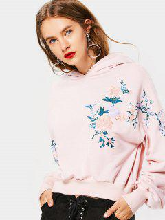 Floral Embroidered Drop Shoulder Hoodie - Light Pink S