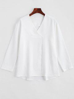 V Neck Neck Shoulder Long Sleeve Blouse - Blanc L