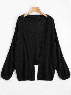 Open Front Plain Drop Shoulder Cardigan - Black M