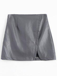 PU Leather A-line Skirt - Gray S