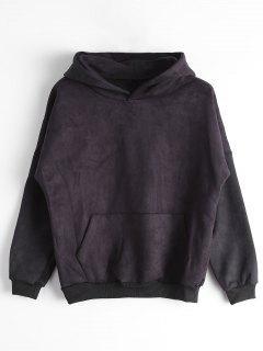 Drop Shoulder Front Pocket Hoodie - Black L