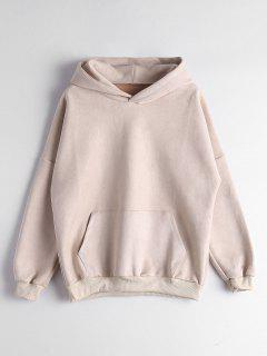 Drop Shoulder Front Pocket Hoodie - Apricot L