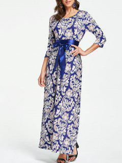 Paisley Floral Maxi Evening Dress - M