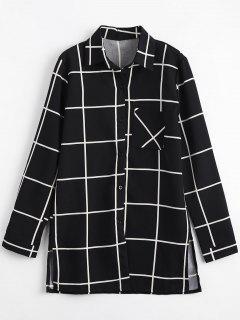 Long Pocket Button Up Plaid Shirt - Black M