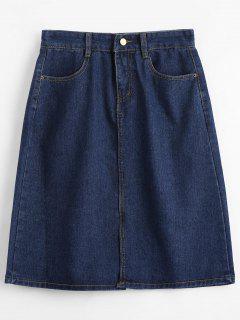 Knee Length Denim Skirt - Cerulean M