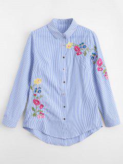 Chemise  à Rayures Et Brodée De Fleurs   - Rayure S