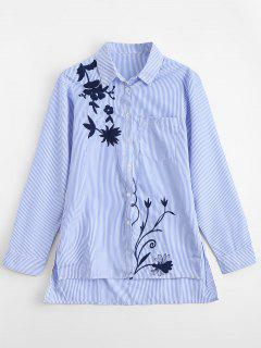 Embroidered Striped High Low Shirt - Stripe S