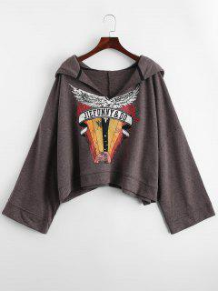 Drop Shoulder Graphic Oversized Hoodie - Brown M