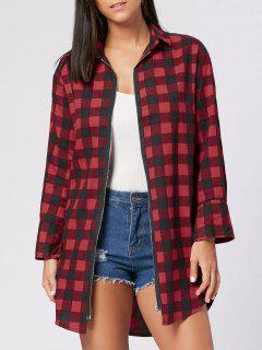 Zipper Fly Back Slit Plaid Tunic Shirt - Wine Red Xl