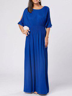Slit Sleeve High Waist Maxi Party Dress - Royal Xl