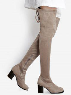 Suede Pointed Toe Over The Knee Boots - Apricot 37