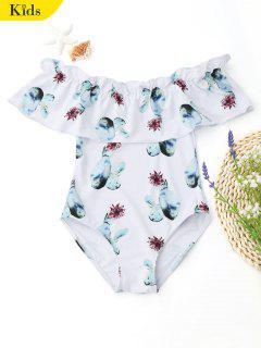 Ruffles Off Shoulder Printed Kids Swimwear - White 6t