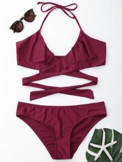 Ruffles Halter Wrap Bikini Set - Burgundy L