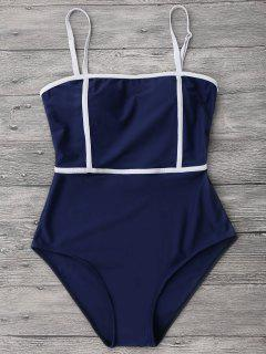 Cami Piping One Piece Swimwear - Deep Blue L