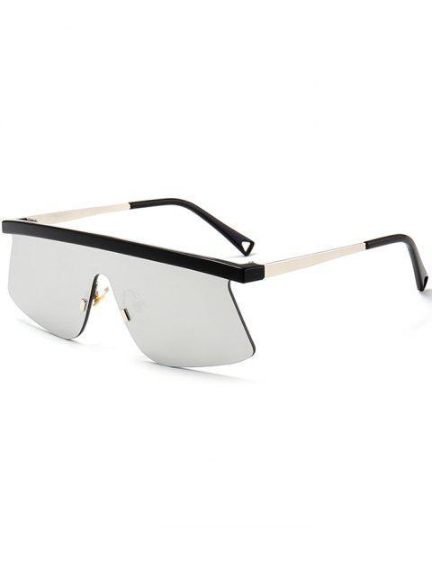 Halb Randlose Linsen Schild Sonnenbrille - silber  Mobile