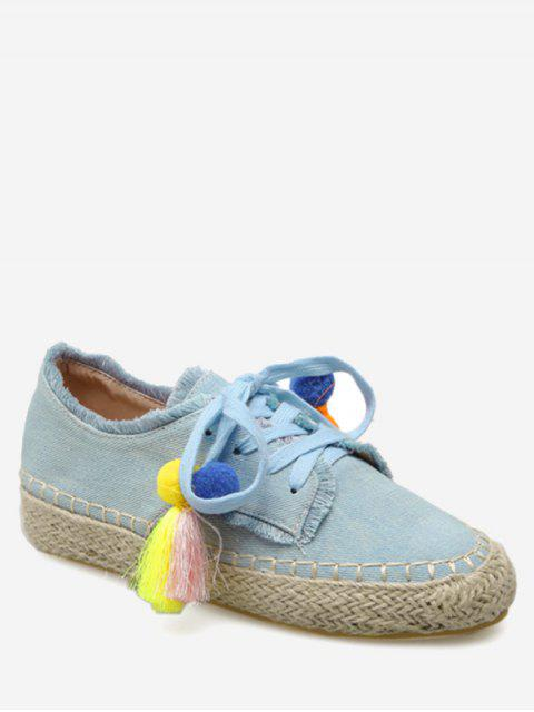 affordable Espadrille Tassel Pompom Canvas Flats - LIGHT BLUE 38 Mobile