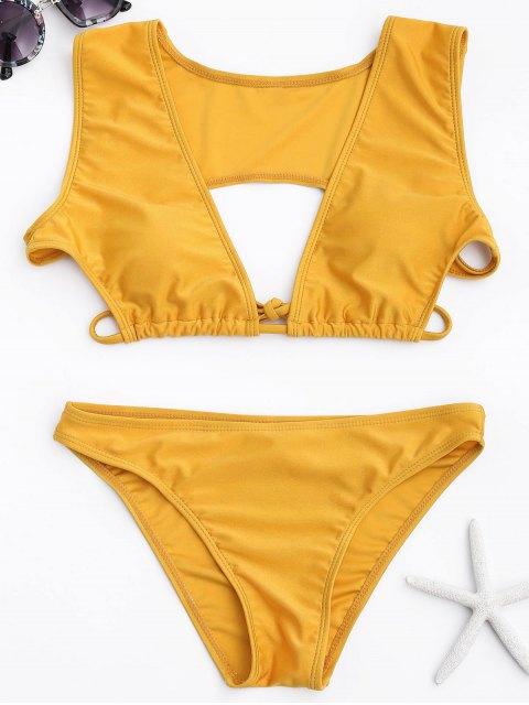 new Cutout Plunging Bikini Set - YELLOW S Mobile