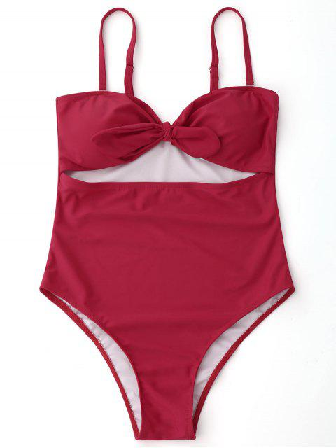 shops Bowknot Cut Out High Leg Swimwear - RED S Mobile