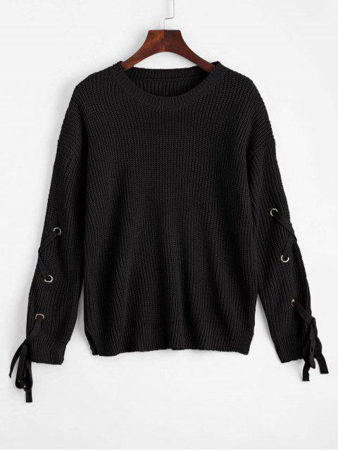 women Loose Lace Up Side Slit Sweater - BLACK ONE SIZE Mobile