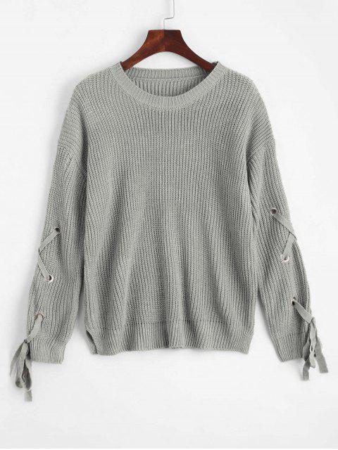 women's Loose Lace Up Side Slit Sweater - GRAY ONE SIZE Mobile