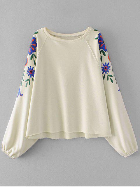 hot Batwing Sleeve Flower Graphic Sweatshirt - OFF-WHITE S Mobile