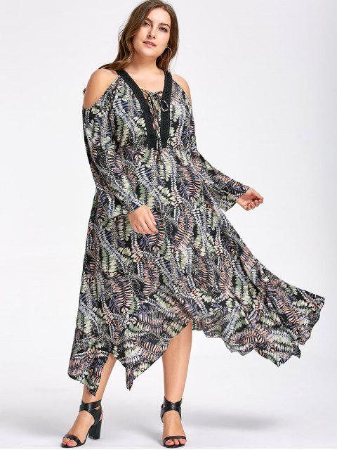 sale Plus Size Cold Shoulder Handkerchief Dress - COLORMIX 2XL Mobile