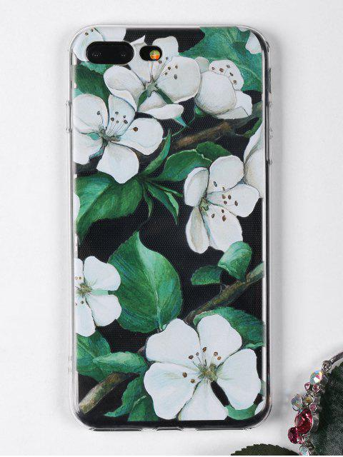 women Flowers Branch Pattern Phone Case For Iphone - WHITE FOR IPHONE 7 PLUS Mobile