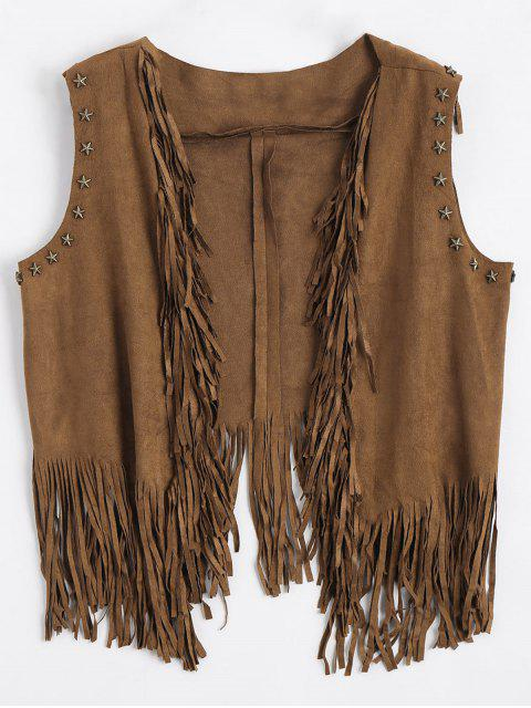 affordable Asymmetric Fringed Draped Waistcoat - DEEP BROWN ONE SIZE Mobile
