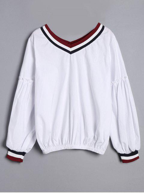 Langarm Gestreifte V-Ausschnitt Bluse - Weiß Eine Größe Mobile