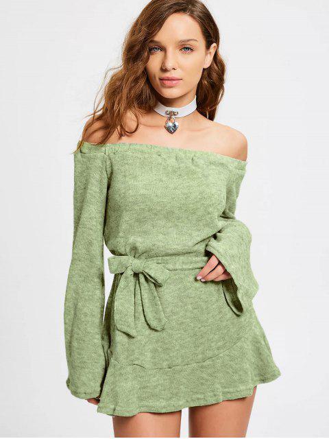 Schulterfreies Gürtel Mini Kleid - Weise Grün S Mobile
