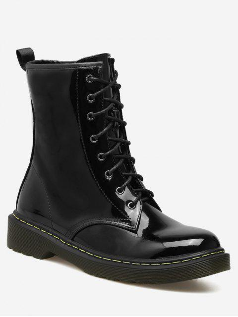 best Tie Up Patent Leather Ankle Boots - BLACK 37 Mobile