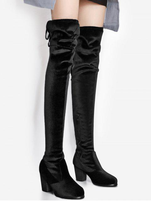 trendy Pointed Toe Chunky Heel Over The Knee Boots - BLACK 38 Mobile
