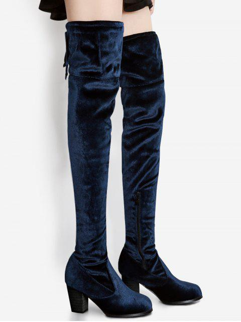 fancy Pointed Toe Chunky Heel Over The Knee Boots - BLUE 39 Mobile