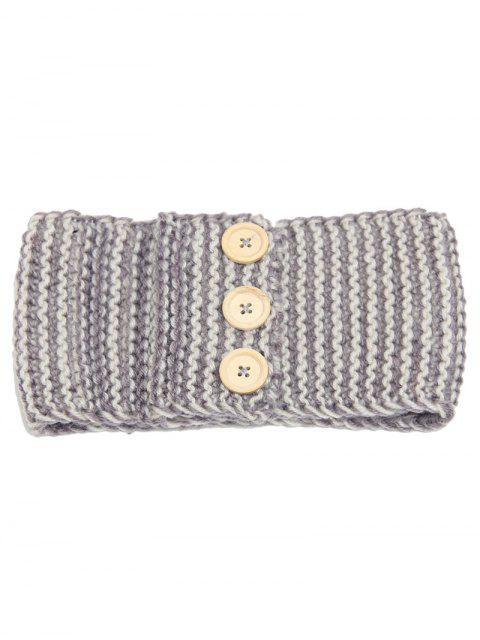 Wärmehaltung Gehäkeltes Elastisches Haar-Band mit Knopf - Grau  Mobile