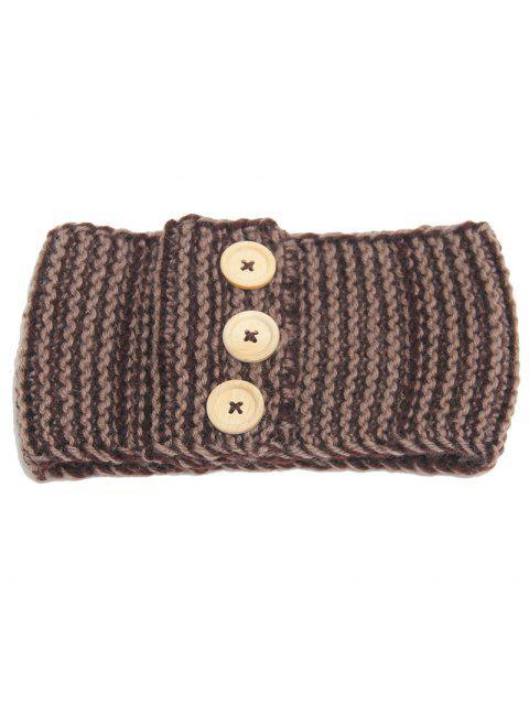 Wärmehaltung Gehäkeltes Elastisches Haar-Band mit Knopf - Khaki  Mobile
